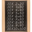 Multiplication table handwritten with white chalk on school blac — Stock Photo #70638545