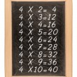 Multiplication table handwritten with white chalk on school blac — Stock Photo #70638851