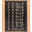 Multiplication table handwritten with white chalk on school blac — Stock Photo #70638991