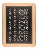 Multiplication table handwritten with white chalk on school blac — Stock Photo