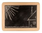 Blackboard with a drowing of a house and a familie — Stock Photo