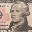 President hamilton face on the ten dollar bill — Stock Photo #70640739