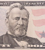 Fifty dollar bill macro, 50 usd, president Ulysses Grant portrai — Stock Photo