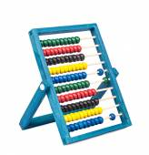 Traditional abacus with colorful wooden beads on white backgroun — Stock Photo