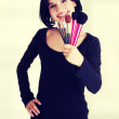 Make-up artist holding brushes — Stock Photo #52569931