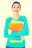 Beautiful young woman student with workbook. — Stock Photo