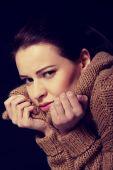 Mladá žena má deprese. — Stockfoto