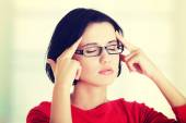 Young woman have headache — Stock Photo