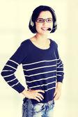 Closeup of attractive customer support representative — Stock Photo