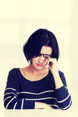 Young sad woman, have big problem or depression — Stock Photo