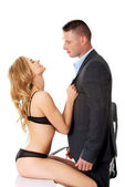 Seductive woman and man - office romance concept — Stockfoto
