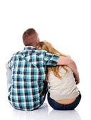 Couple look on empty copy space — Stock Photo