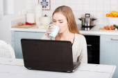 Young woman using a laptop computer at home — Foto Stock