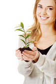 Woman with plant and dirt in hand — Stock Photo