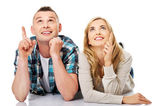 Couple look on empty copy space — Stockfoto