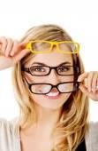 Young woman wearing eyeglasses — Stock Photo
