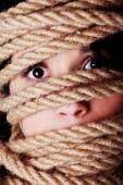 Tied up scared woman face. — Stock Photo