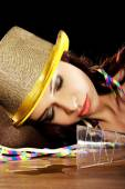 Young drunk woman  with empty champagne bottle — Stockfoto