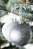 Three christmas balls hanging on a twig. — Stock fotografie