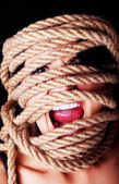 Tied up scared woman face. — Foto de Stock