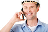 Contractor talks on his cell phone. — Stock Photo