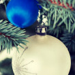 Two christmas balls on a twig. — Stock Photo #58544837