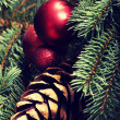 Christmas decorations- pine, balls on a tree. — Stock Photo #58545865