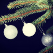 Three christmas balls hanging on a twig. — Stock Photo #58546073