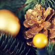 Christmas decorations- pine, balls on a tree. — Stock Photo #58547257