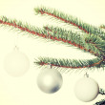 Three christmas balls hanging on a twig. — Stock Photo #58547873
