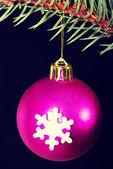 One christmas ball handing on a twig. — Stock Photo