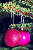 Two christmas balls hanging on a tree. — Stockfoto
