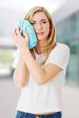Woman heaving tooth ache — Stock Photo