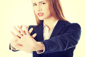 Business woman showing stop gesture — Stock Photo