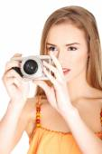 Woman making photos on vacations — Stock Photo