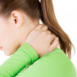 Woman having neck pain massaging herself — Stock Photo #61714233