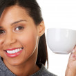 Portrait happy woman holding a cup of coffee — Stock Photo #61724983