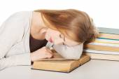 Tired woman preparing to exam — Stock Photo