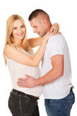 Man touching his wife pregnancy belly — Stock Photo