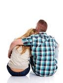 Paar suchen auf leere textfreiraum — Stockfoto