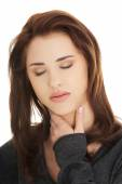 Young woman with terrible throat pain — Stock Photo