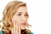 Woman having toothache — Stock Photo