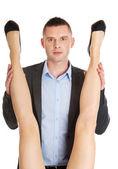 Mujer seductora y hombre - concepto de romance de oficina — Foto de Stock