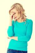 Endişeli kadın büyük sorunu var — Stok fotoğraf