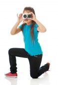 Girl with photo camera — Stock Photo