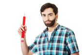 Man writing with big red pencil. — Stock Photo