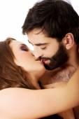 Sexy heterosexual couple kissing. — Stock Photo