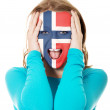 Woman with Norway flag on face. — Stock Photo #70683733