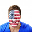 Screaming man with USA flag on face. — Stockfoto #70685233
