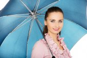 Business woman is holding blue umbrella. — Stock Photo